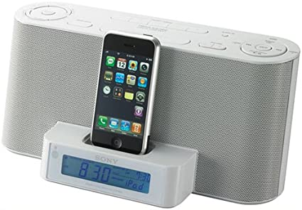 white Sony ICF-CS10iP Speaker Dock Clock Radio for iPod /& iPhone