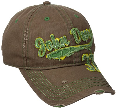 John Deere Embroidered Logo Vintage Raw Edge Baseball Hat - One-Size - Men's - Brown