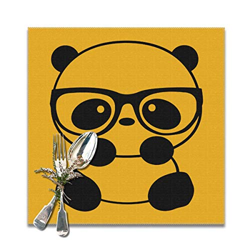 JML-LUV Panda Nerd with Glasses Placemats Set of 6/4 for Dining Table Washable Non-Slip Wear and Heat Resistant Kitchen Table Mats Easy to Clean, 12x12 in]()