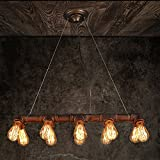 restaurant light fixtures - WINSOON Retro INDUSTRIAL STEAMPUNK LAMP IRON PIPE ISLAND CEILING FIXTURE PENDANT LIGHT VINTAGE (Bronze)