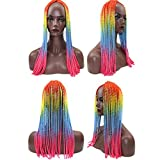 Wigs, Hatop Women Torsional Braid Cosplay Type Wigs Long Curly Hair Africa Colored Wig (A)