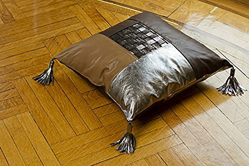 Amazon.com: Color-Blocked Weaved Leather Floor Pillow with Tassels ...