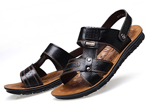 No.66 Town Mens Beach Shoes Leisure Flip Flops Slippers Leather Sandals Black MNJD2Z9