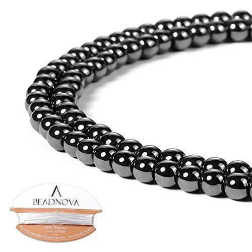 BEADNOVA 4mm Natural Hematite Gemstone Round Loose Beads for Jewelry Making (94-96pcs)
