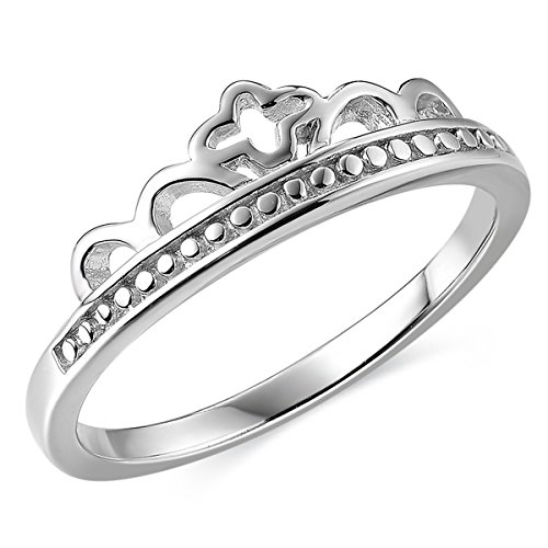 - JEWME 925 Sterling Silver Women Victorian Cross Princess Royal Crown Band Ring 8.5