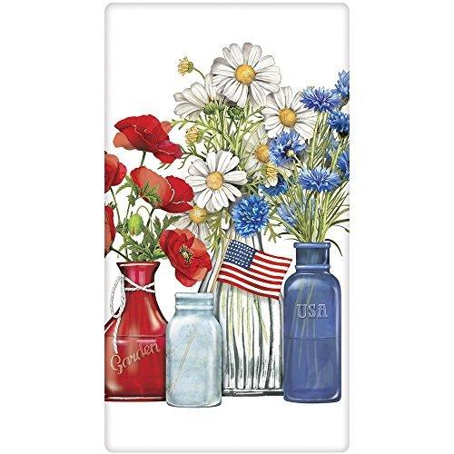 Mary Lake-Thompson Patriotic Flowers Cotton Flour Sack Kitchen Towel