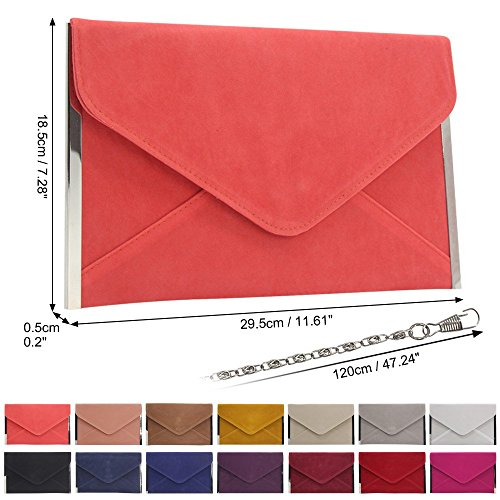Chain Clutch Hot Wedding Coral Women Party Envelope Bag Wiwsi Handbag Evening Pink Cocktail New TqxX1nwAZB