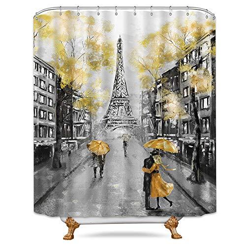 Riyidecor Oil Painting Paris Shower Curtain Set European City Landscape France Eiffel Tower Modern Couple Black Yellow Fabric Waterproof Bathroom Home Decor 72x84 Inch 12 Plastic Shower Hooks