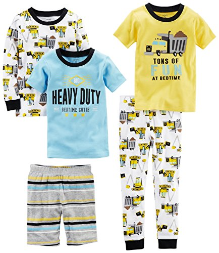 Carter's Boys' Toddler 5-Piece Cotton Snug-Fit Pajamas, Construction, 4T
