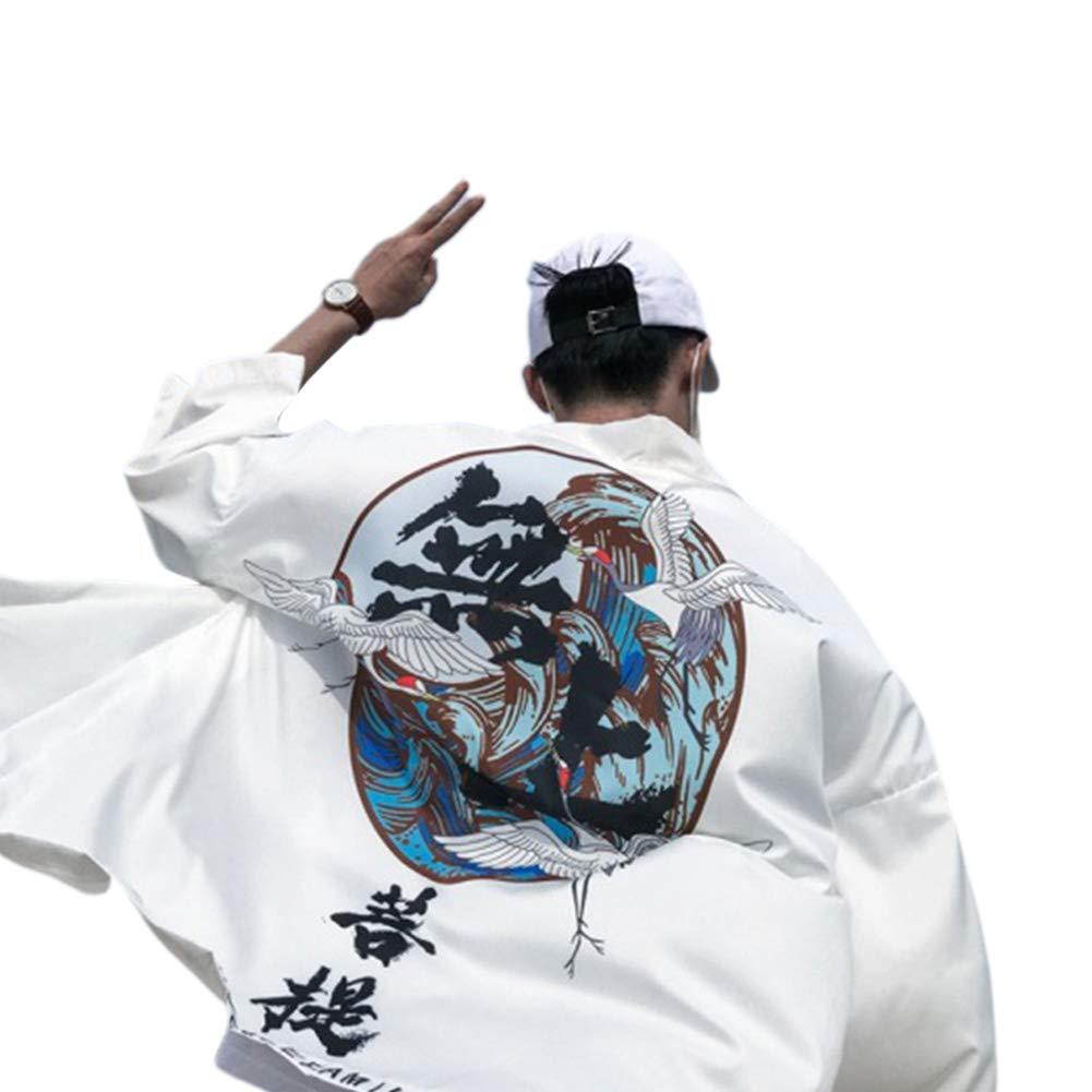 Buy Elegantstunning Unisex Chinese Style Retro Robes Sunshade Janpanes Kimono Style Couple Loose Thin Shirt White S At Amazon In