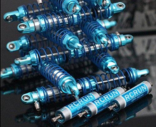 LNL 4pcs Adjustable Piggyback Dual Springs Damper Blue RC Car LL0053 (100mm)