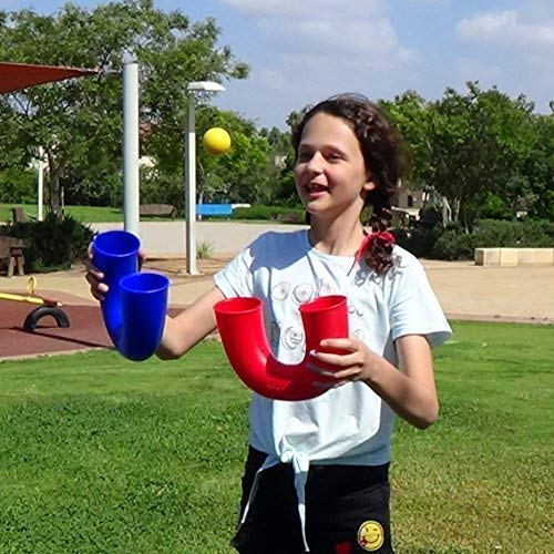 pindaloo Skill Toy +2 Juggling Balls. Hot Gift for Kids, Teens and Adults. Lots of Fun, Develops Motor Skills, Hand Eye Coordination and Balance. for Indoor and Outdoor Play (Red)