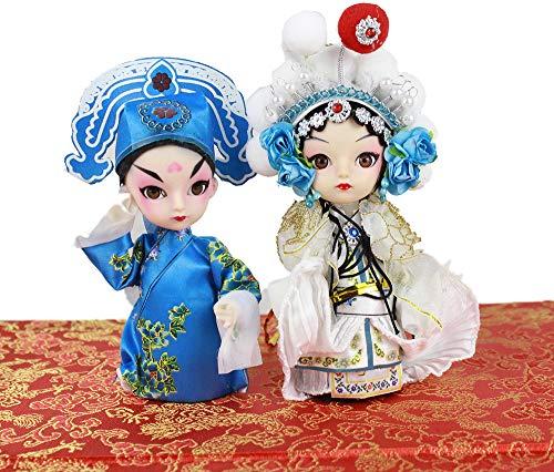 2PCS The White Snake Lady and Her Husband Xuxian Q Version Peking Opera Doll ()