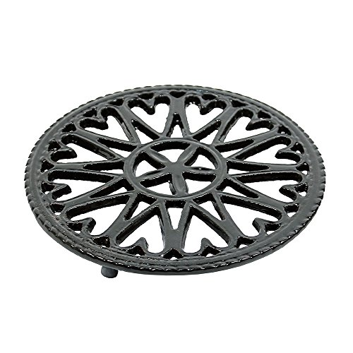 Minuteman International Sunburst, Black woodstove Tabletop cast Iron Trivet, 7