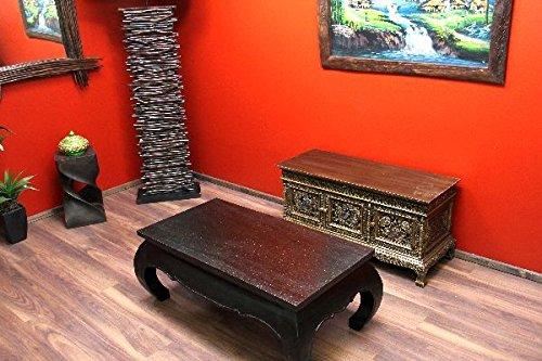 Opium mesa, madera maciza, color negro, tablero hojas oro, 110 x ...