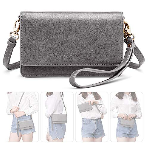 (nuoku Women Small Crossbody Bag Cellphone Purse Wallet with RFID Card Slots 2 Strap Wristlet(Max 6.5'') ... (Grey))