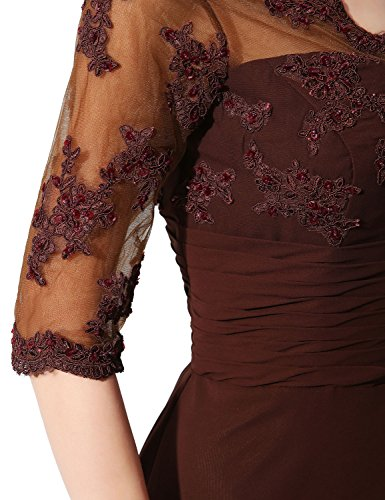 Lace of Bride Dress Gown Belle Brown and Long HSD336 Formal Mother Chiffon House The wqa45ZT