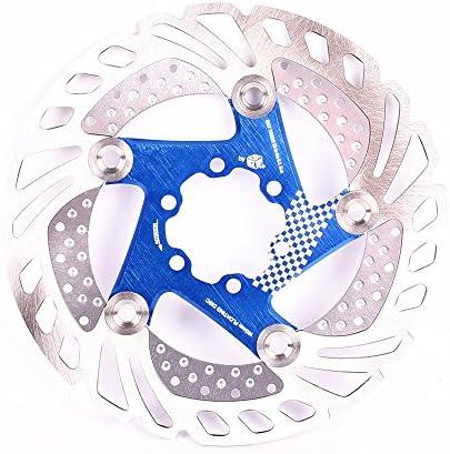 ロードバイクディスク フローティングディスクブレーキローター6ボルトほとんどの自転車ロードバイク用のアルミ合金バイクディスクブレーキローターマウンテンバイクBMX MTB 160mm 180mm 203mm (色 : 青, サイズ : 180mm)