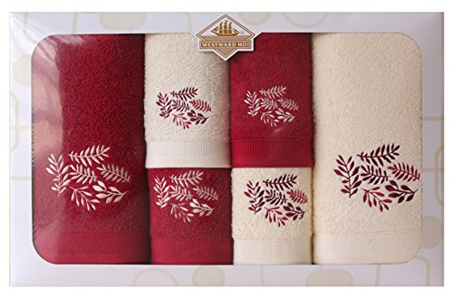Westward Ho! Autumn Embroidery Box Towel, Cream/Bordeaux by Westward Ho!