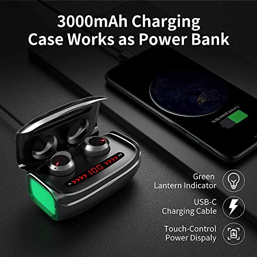 Wireless Earbuds, GRDE TWS Bluetooth 5.0 Headphones with【3000 mAh Charging Case】Deep Bass 170H Playtime CVC 8.0 Noise Canceling LED Display in-Ear Earphones Bluetooth Earbuds Built-in Mic Headset