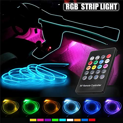 Car LED Strip Light - Music RGB Neon Strip Lights - 5 IN 1 With 6 Meters/236.22'inch, Interior Decor Atmosphere Strip Lamp, Sound induction Active Remote Control Rhythm Light
