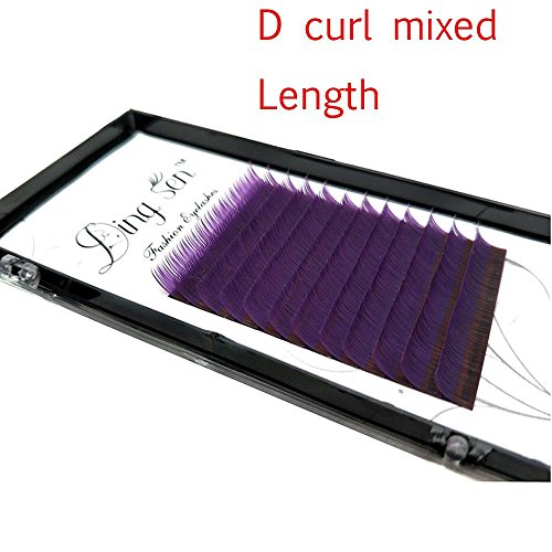 Miswilsi 12 Rows C/D Curl Women Beauty Natural Soft Flase Eyelashes Purple Individual Lashes Extension Tools]()