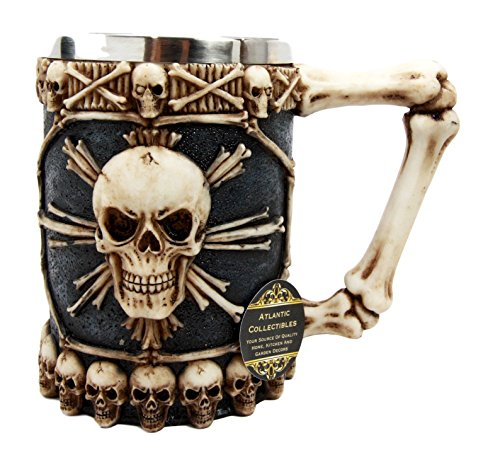 Atlantic Collectibles Large Skeletal Cross Bones Skull Beer Stein Tankard Coffee Cup Drink Mug 12oz