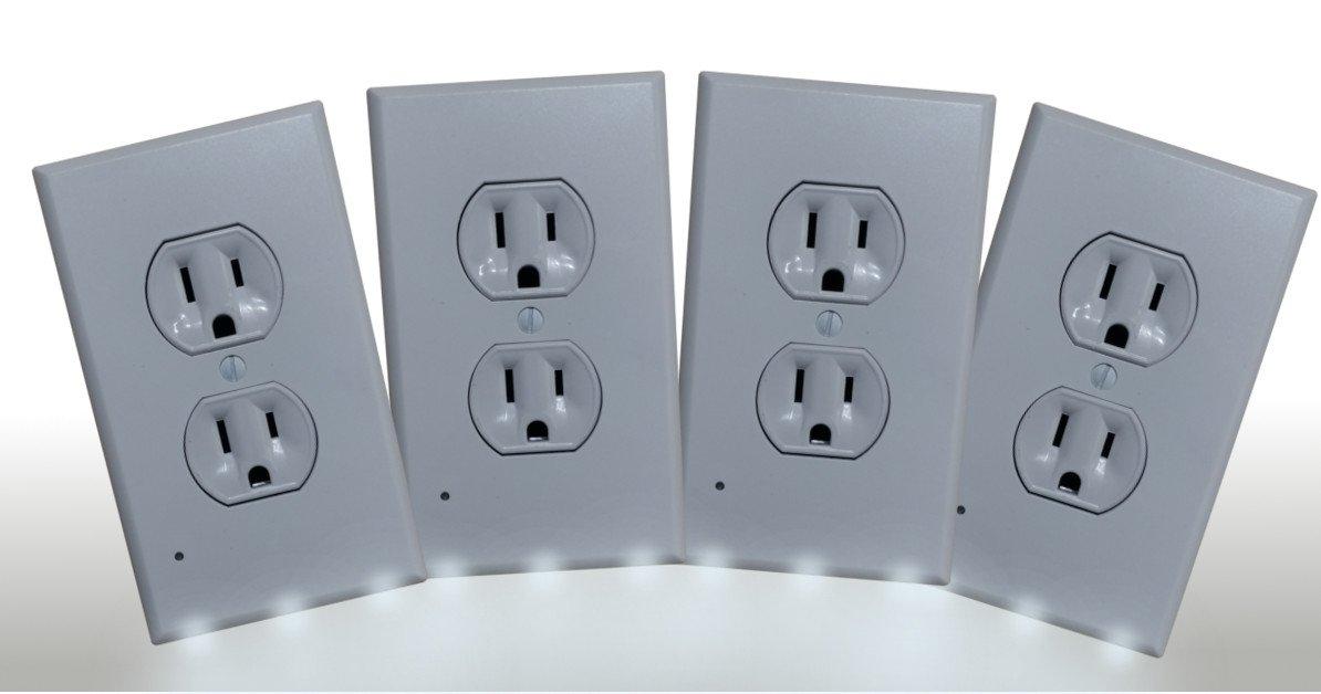 壁プレートNight Light – 3 LEDコンセントカバー – 4パック – 安全ライトのバスルーム、キッチン、ベッドルーム、廊下、階段、 – シンプルなをインストール。デュプレックススタイルカバープレート, Sold by guco製品。 B078GQH4SR 22166