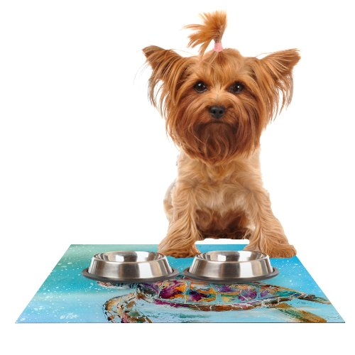 KESS InHouse Josh Serafin Home Sweet Home  bluee Green Feeding Mat for Pet Bowl, 18 by 13-Inch