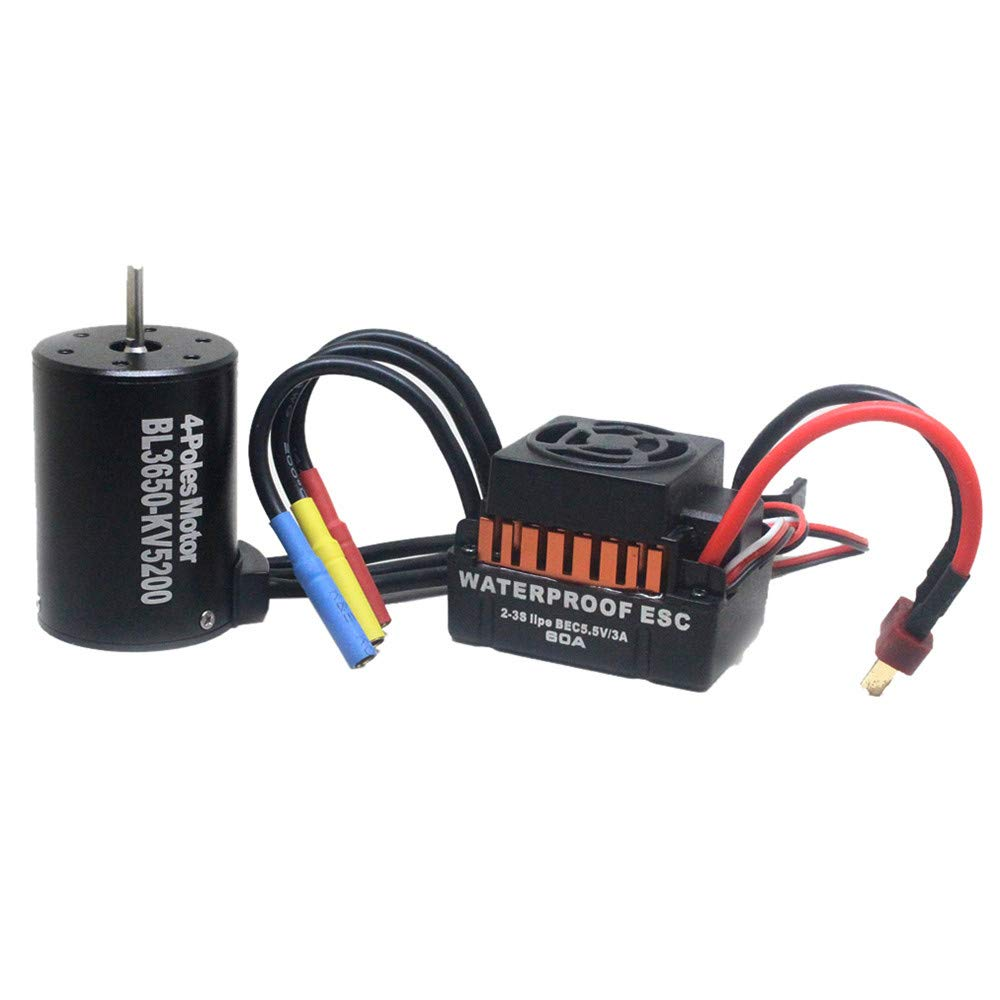 Chartsea Waterproof 3650 5200KV Brushless Motor+60A ESC Speed Controller Compatible 1/10 RC Car Boat Crawler (Black) by Chartsea