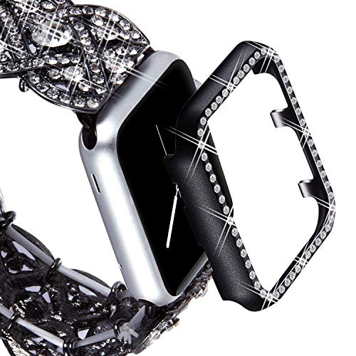 (VIQIV Bling Protective Face Bumper Case Cover for Compatible with Apple Watch 38mm 42mm 40mm 44mm, Crystal Diamond Plate Frame Compatible with Apple iWatch Series 4 3 2 1 Black)