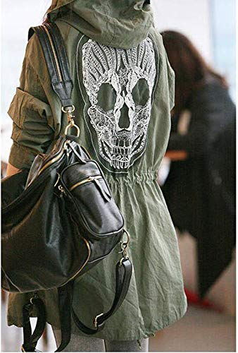 cráneo la Bordado Cortavientos de del Capucha la Capa de de Gabardina Lazo Chaqueta la Cintura de del señoras Moda de Las del la Cabeza con nSfHwxq0