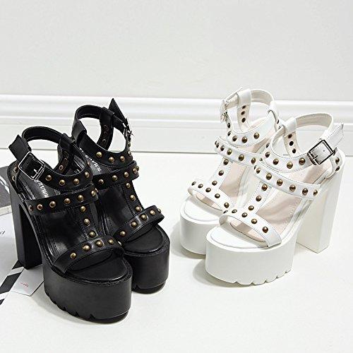ZHZNVX Die neue high-heel Schuhe wasserdicht wasserdicht wasserdicht Taiwan dick mit Schnalle Sandalen's fashion Niet Frauen Schuhe 5537a0