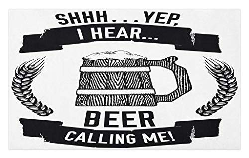 - Lunarable Man Cave Doormat, I Hear Beer Calling Me Quote Style Hand Drawn Lager Stout Ale Wheat Mug Art, Decorative Polyester Floor Mat with Non-Skid Backing, 30 W X 18 L Inches, Black and White