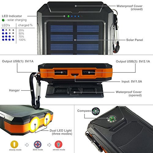 Power-Bank-Solar-Charger-Backup-Battery-10000mAh-Premium-Waterproof-Portable-External-USB-Battery-Charger-with-LED-LightCompass-For-iPhone-iPad-Cellphones-Samsung-Highest-Quality-Solar-Panel