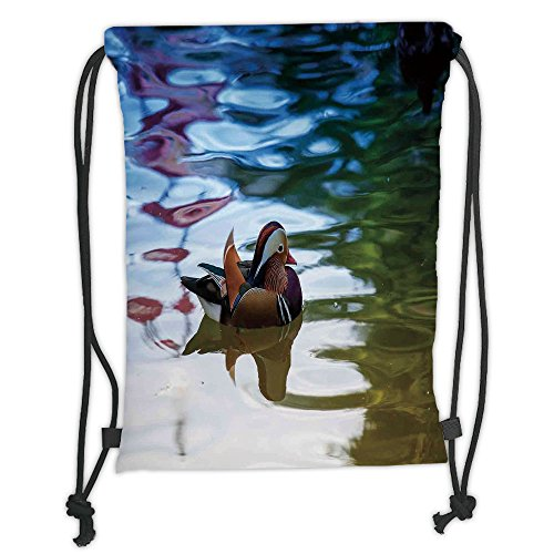 Custom Printed Drawstring Sack Backpacks Bags,Wildlife Decor,Chinese Mandarin Ducks Sail in River East Asian Winged Creature Peace Habitat,Multi Soft Satin,5 Liter Capacity,Adjustable String Closure,T - Chinese Mandarin Duck