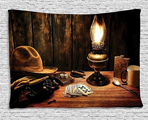 Western Decor Tapestry Mystic Night in Hotel Room
