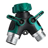 Homitt 2 Way Y Hose Connector, Garden Hose Splitter with Comfortable Rubberized Grip for Easy Garden Life