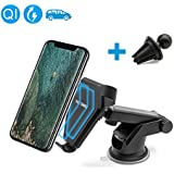 Wireless Car Charger Mount,FEEYOO Air Vent Car Mount Fast Charging Adjustable Holder for Samsung Galaxy S8, S7,S6/S7 Edge, Note 8, QI Wireless Standard Charge for iPhone 8/ 8 Plus/ X