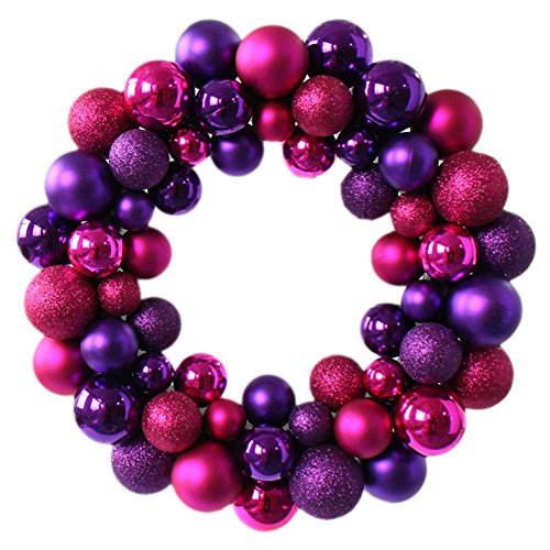 Colorful Balls Christmas Wreath Garland Ornaments Arcades Christmas Decorations Ball Ring (Rose red purple)