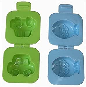 10X Set Of 2 Japanese Car & Fish Plastic Egg Mold For Bento Box