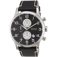 Hugo Boss Chronograph Black Dial Black Leather Mens Watch 1512569