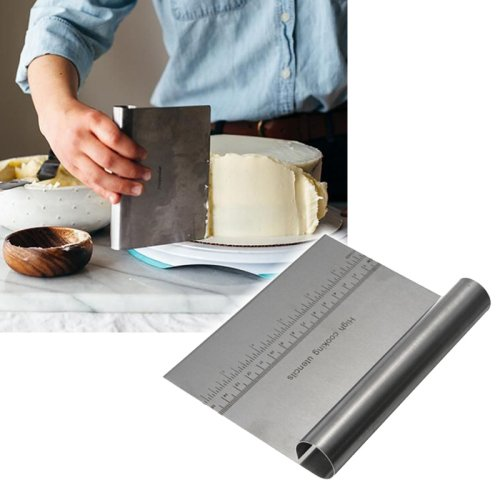 (L.T.kitchen Stainless Steel Smoother Edge Cake Scraper, Pizza Dough Scraper Cutter, Kitchen Flour Pastry Icecream Cake Tool, CS-15)