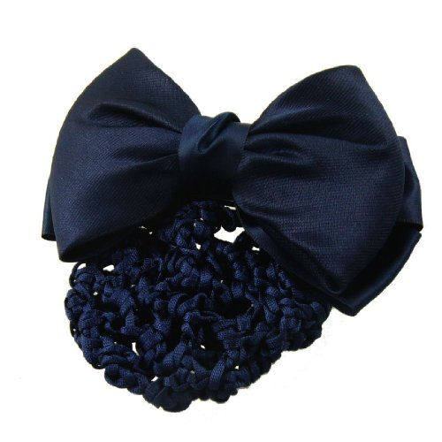 1 piece Rosallini Blue Nylon Polyester Bowknot Barrette Hair Clip with Snood Net
