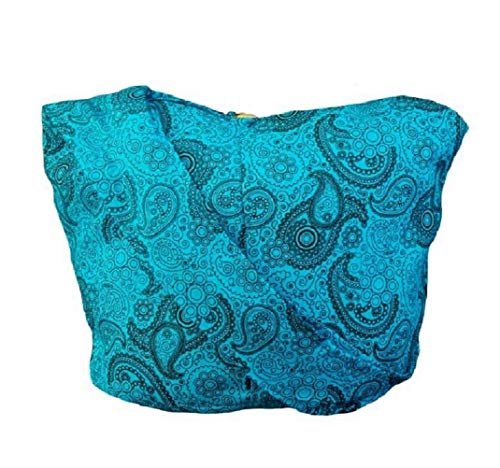 (BTP! Thai Cotton Hippie Hobo Sling Crossbody Bag Messenger Purse Paisley Print Large (SkyBlue PL42))