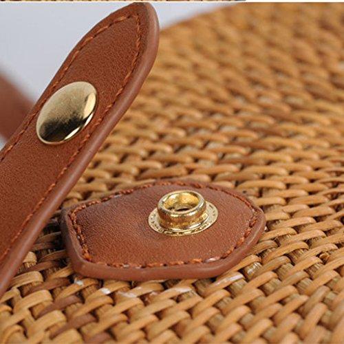 Verano Bolso de Bolsa Ratán de Hombro Tejido Homyl 02 Vietnam Bolso Retro para Señora de de de Playa a Mano Vintage Elegante Redondo nSTwx6Z