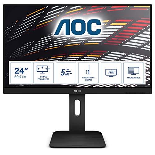 AOC 23.8-inch LED Monitor with VGA Port, HDMI Port,USB Hub, Display Port, Height Adjustable Stand – 24P1 (Black)