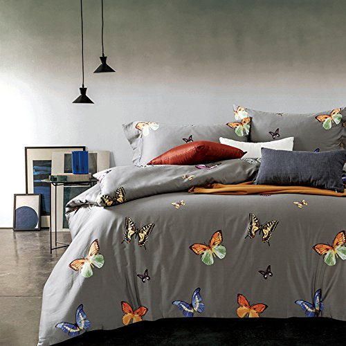 Duvet Cover Set 3 Piece Bedding Set Comforter Cover with 2 Pillow Shams 100% Cotton Butterfly Printing Pattern Twin Size, Gray