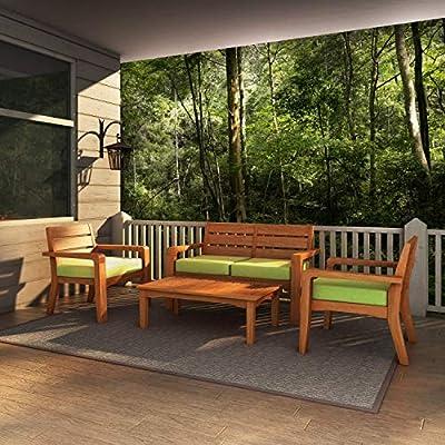 Global Outdoors 4-Piece Eucalyptus Chat Set (Green) - Made in Vietnam FSC Certified Eucalyptus Wood Warm Teak Stain - patio-furniture, patio, conversation-sets - 512CZXD8iJL. SS400  -