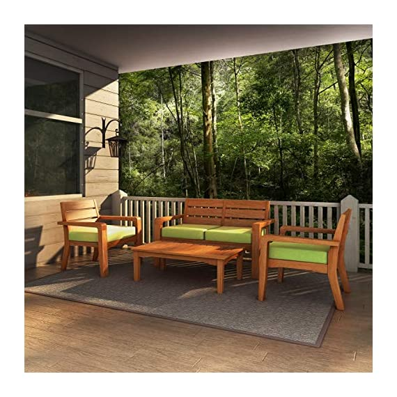 Global Outdoors 4-Piece Eucalyptus Chat Set (Green) - Made in Vietnam FSC Certified Eucalyptus Wood Warm Teak Stain - patio-furniture, patio, conversation-sets - 512CZXD8iJL. SS570  -
